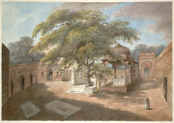 The tomb of Qutb-Sahib at Mahrauli, in a courtyard with tombs and a large spreading tree.